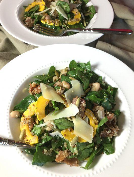 winter squash + prosciutto salad, quinoa,