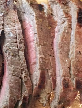 flank steak, marinated, barbecue, at anchor, dock parties