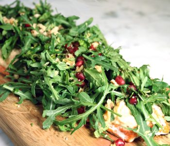 salmon, hummus, arugula, pomegranate, lemon, tahini, mint
