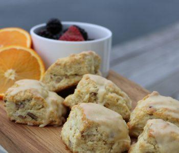 orange pecan scones, buttermilk