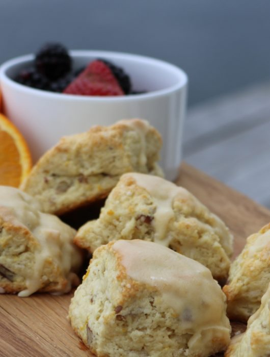 orange pecan scones, buttermilk