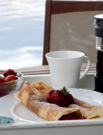 crepes, eggs, strawberries
