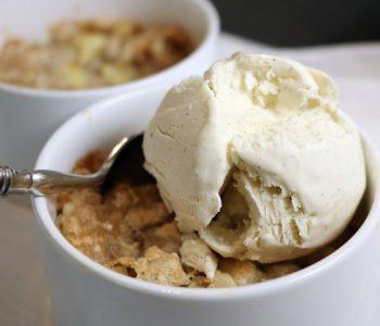 apple torte, vanilla ice cream