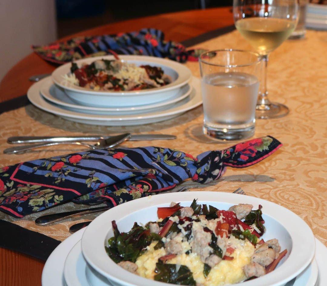 chicken sausage & greens polenta