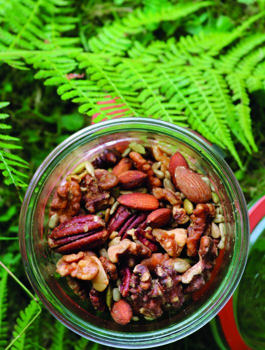 close view of nuts in glass jar